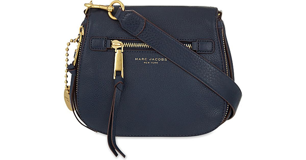 ee5e11f92d7 Lyst - Marc Jacobs Recruit Small Grained Leather Saddle Bag in Blue