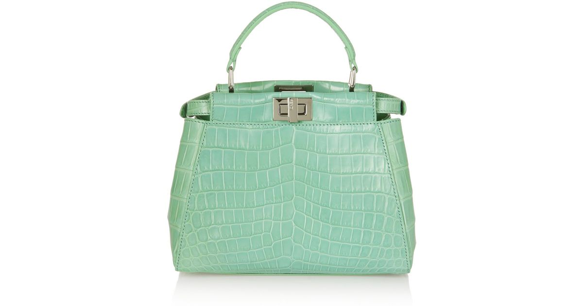 b42127a25920 ... new style lyst fendi peekaboo small crocodile tote in green 712ee f5c00