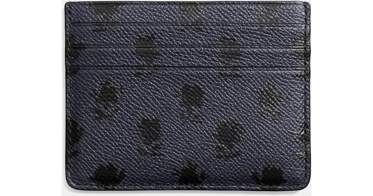 72fcddac COACH - Blue Card Case In Printed Crossgrain Leather for Men - Lyst