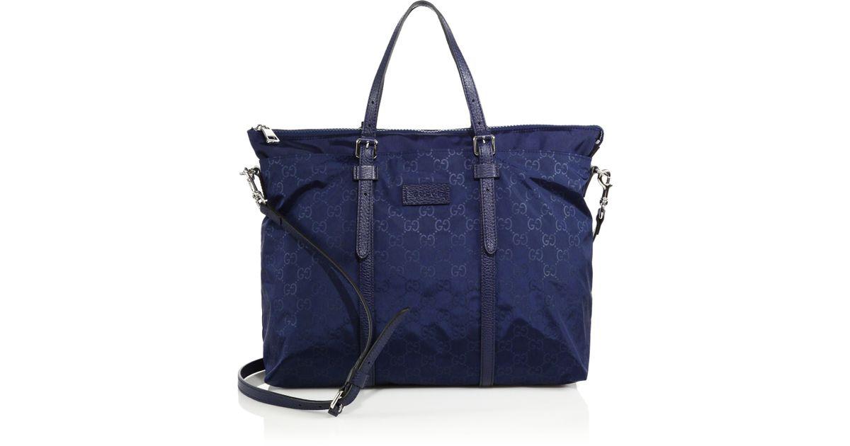 6ac935ab6fc Lyst - Gucci Nylon Ssima Light Tote in Blue