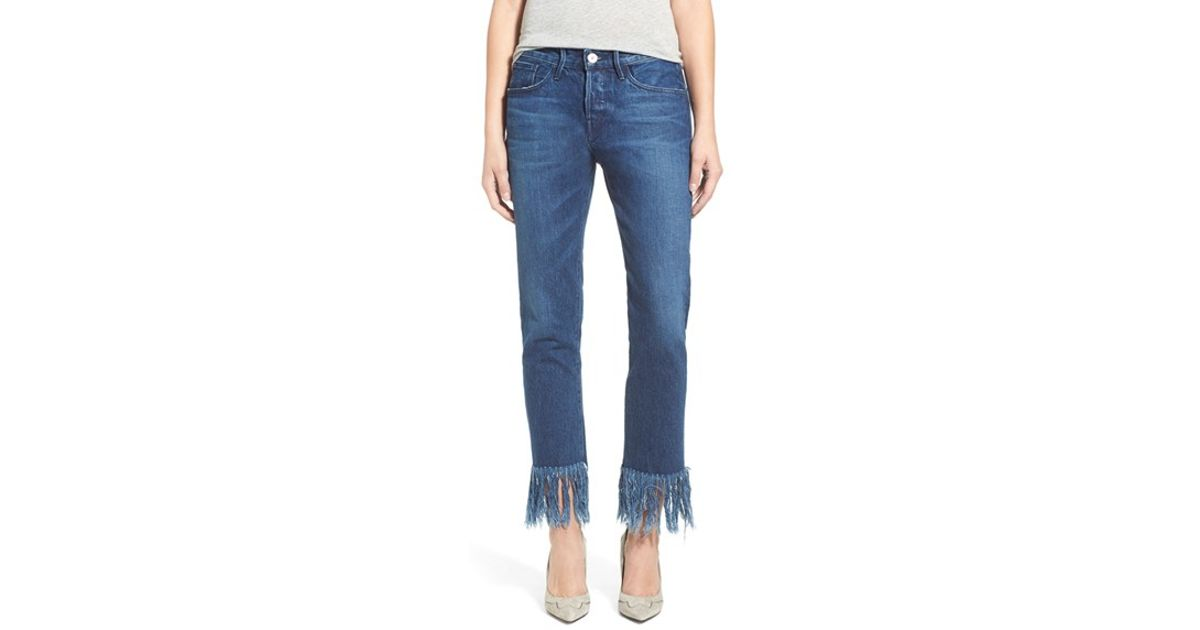3x1 high rise crop fringe straight leg jeans in blue lyst