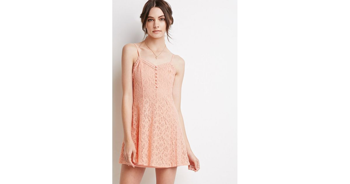 fd997194b5 Lyst - Forever 21 Crochet Lace Cami Dress in Pink