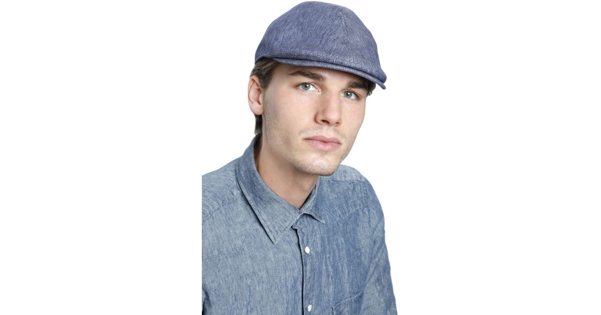Lyst - Lardini Linen Denim Flat Cap in Blue for Men 6b4973a1828