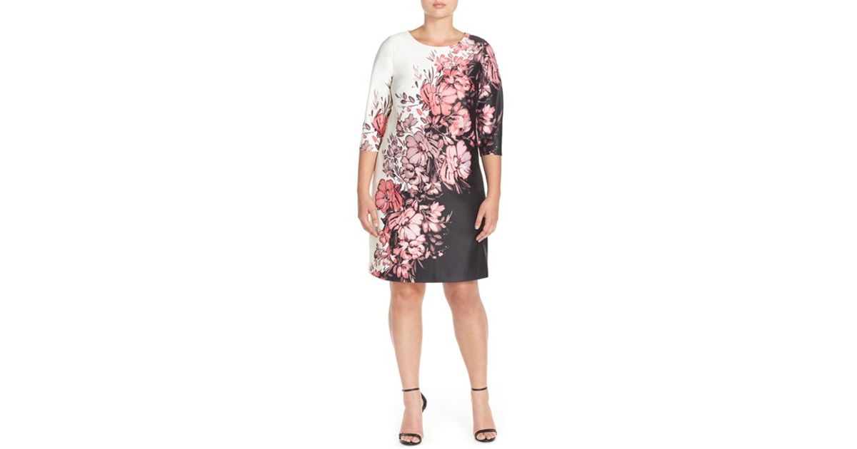 Adrianna papell Floral Print Scuba Knit Shift Dress in Pink Lyst