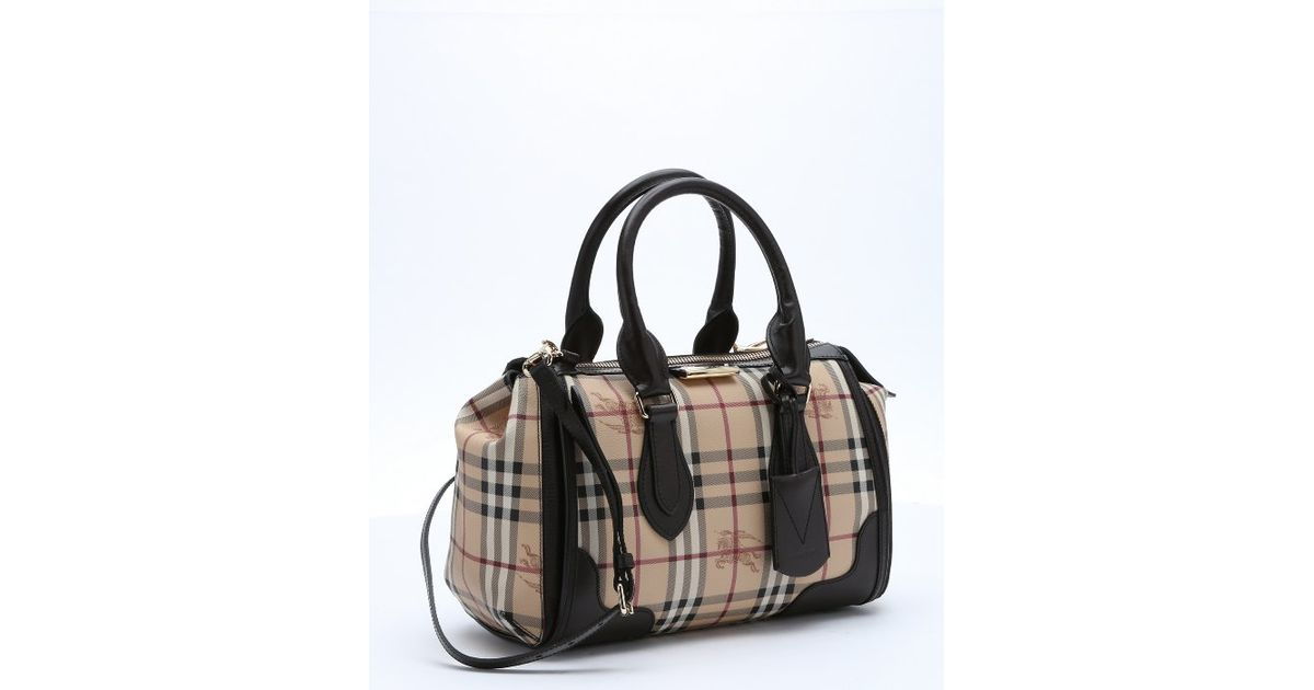 849435270de2 Burberry Chocolate Leather Trimmed Coated Canvas  haymarket Check Gladstone   Small Tote Bag in Black - Lyst