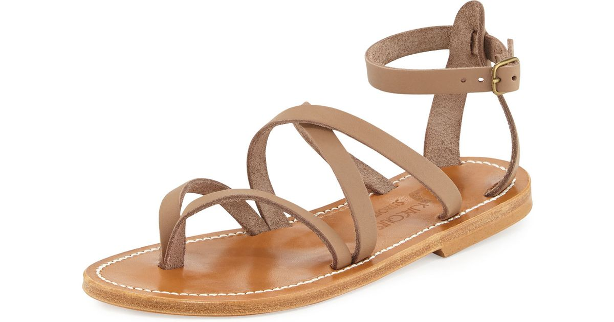 19616c05e353 Lyst - K. Jacques Epicure Strappy Flat Gladiator Sandal in Brown