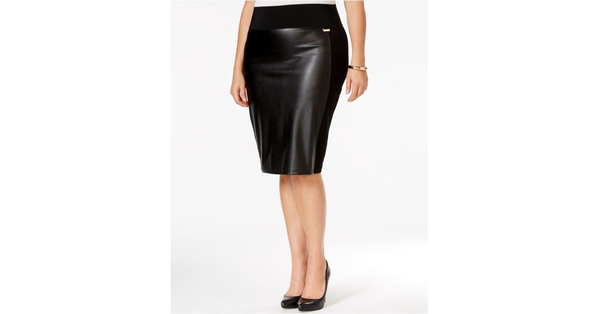 calvin klein plus size faux leather front pencil skirt in