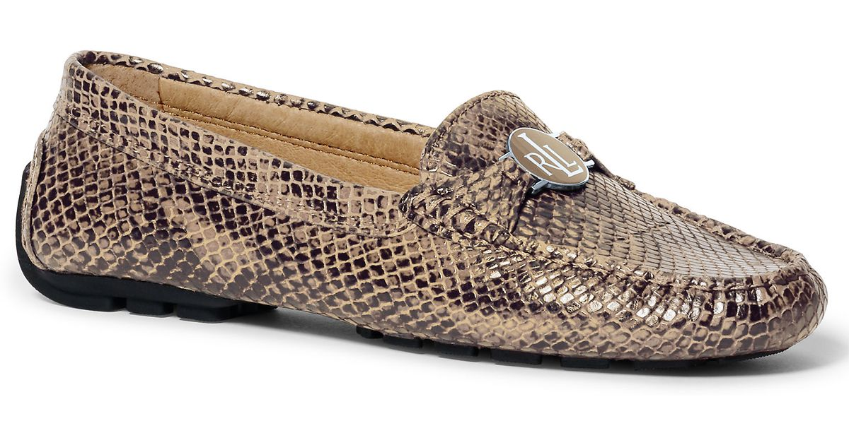 9d0692508ae Lyst - Ralph Lauren Carley Python-embossed Loafer in Natural