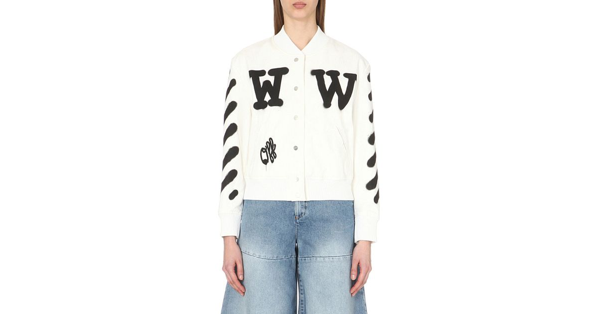 79e61e90a47b Lyst - Off-White c o Virgil Abloh Letterman Stretch-cotton Varsity Jacket  in White