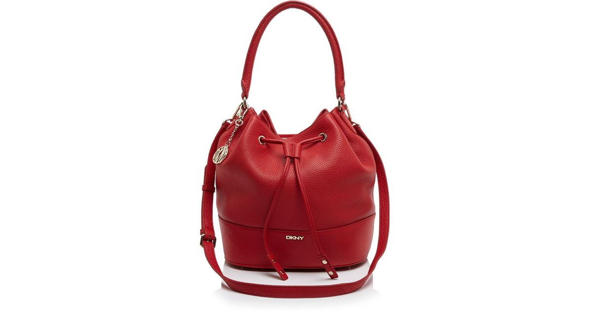 0d79d20708cf Lyst - DKNY Shoulder Bag - Tribeca Bucket Drawstring in Red