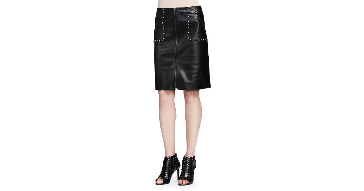 Lanvin Studded Zip-front Leather Skirt in Black | Lyst
