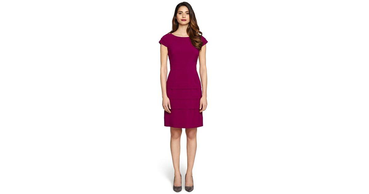 c5e48687 Lyst - Tahari Tiered Bi-stretch Sheath Dress in Purple
