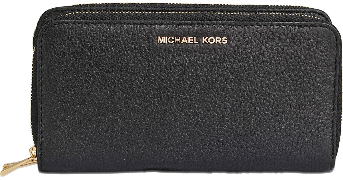 5fc2bcb4d070 MICHAEL Michael Kors Adele Double Zip Wallet in Black - Lyst