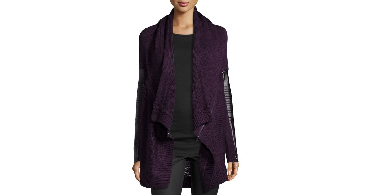 d092ebc37 Lyst - Dex Knit Cardigan W  Faux-Leather Detail in Purple