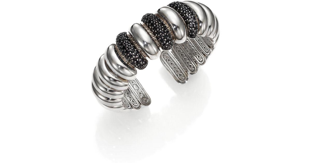 Lyst - John Hardy Bedeg Black Sapphire Sterling Silver Slim Dome Cuff Bracelet in Metallic