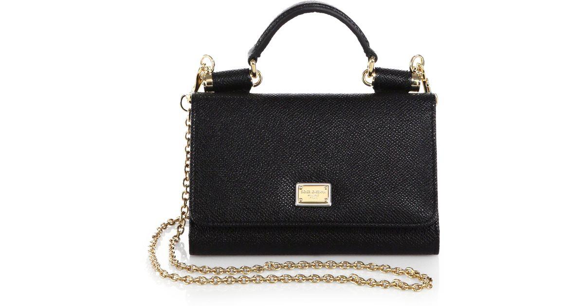 ddf578f3e2f6 Lyst - Dolce   Gabbana Miss Sicily Mini Chain Wallet in Black