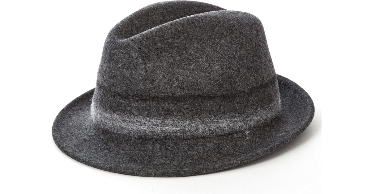 e57dc98fd75c1 Paul Smith Grey Bonded Wool Trilby Hat in Gray for Men - Lyst