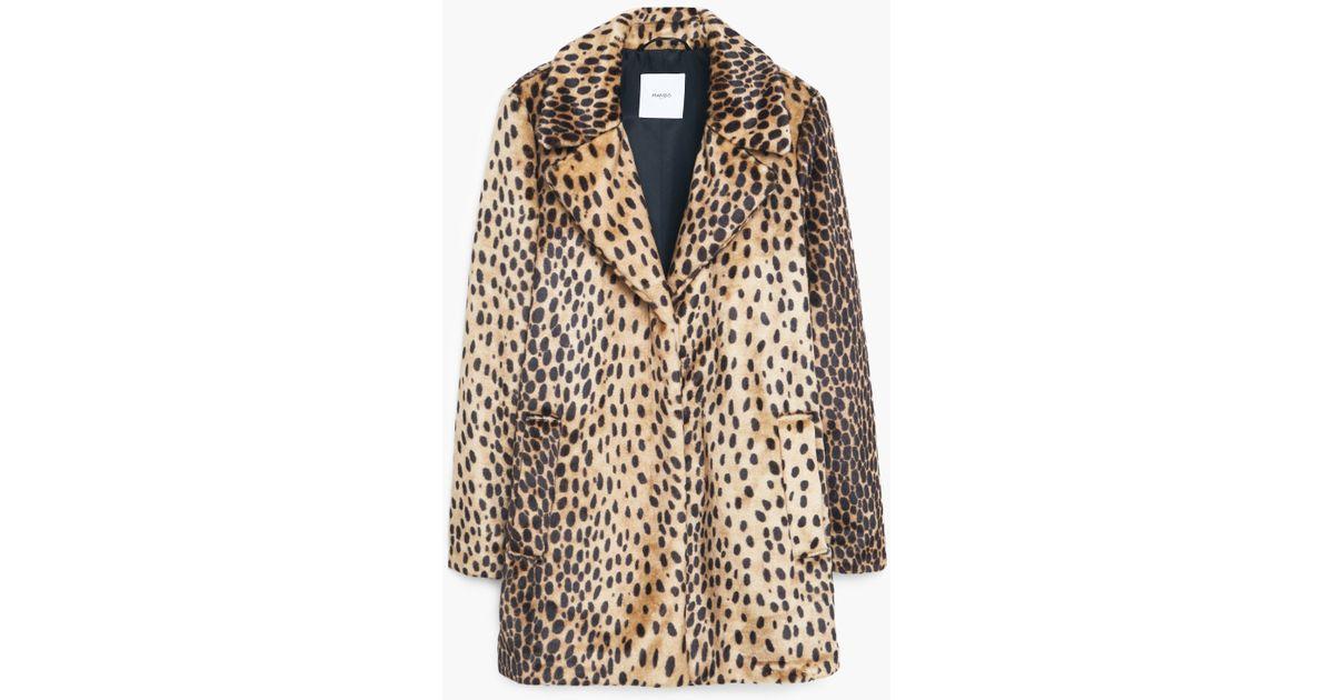 6b2e50c00e12 Mango Leopard Faux Fur Coat in Brown - Lyst
