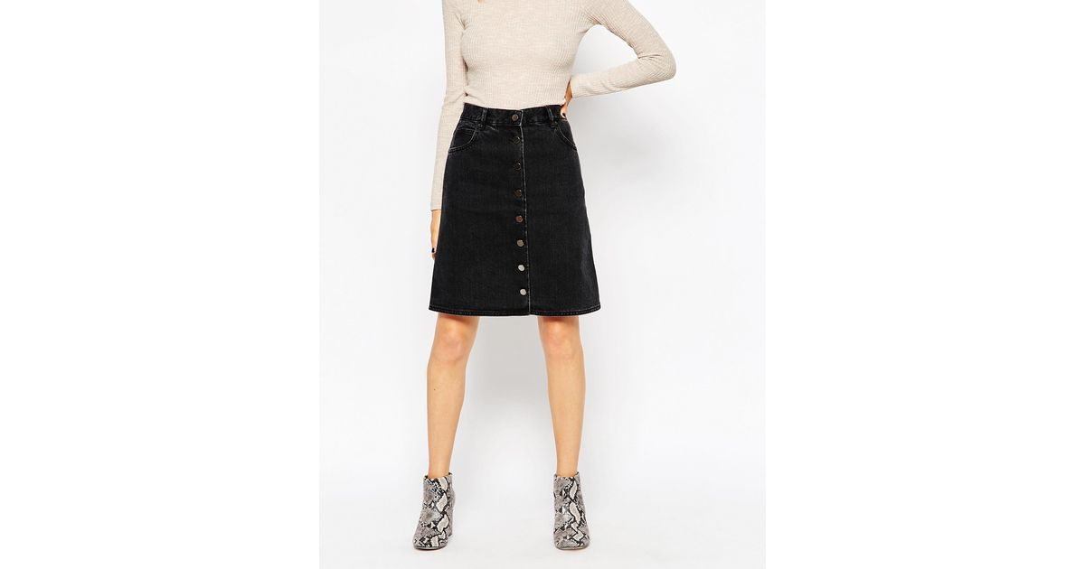 984cbe5e77 ASOS Petite Denim Polly A-lline Button Midi Skirt In Washed Black in Black  - Lyst