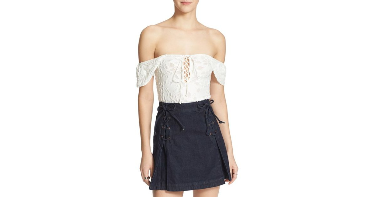 e004cc81f5c3f Lyst - Free People  popsicle  Lace-up Top in White