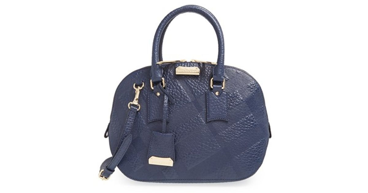 fdf802524ab Lyst - Burberry  small Orchard  Check Embossed Leather Satchel - Purple in  Purple