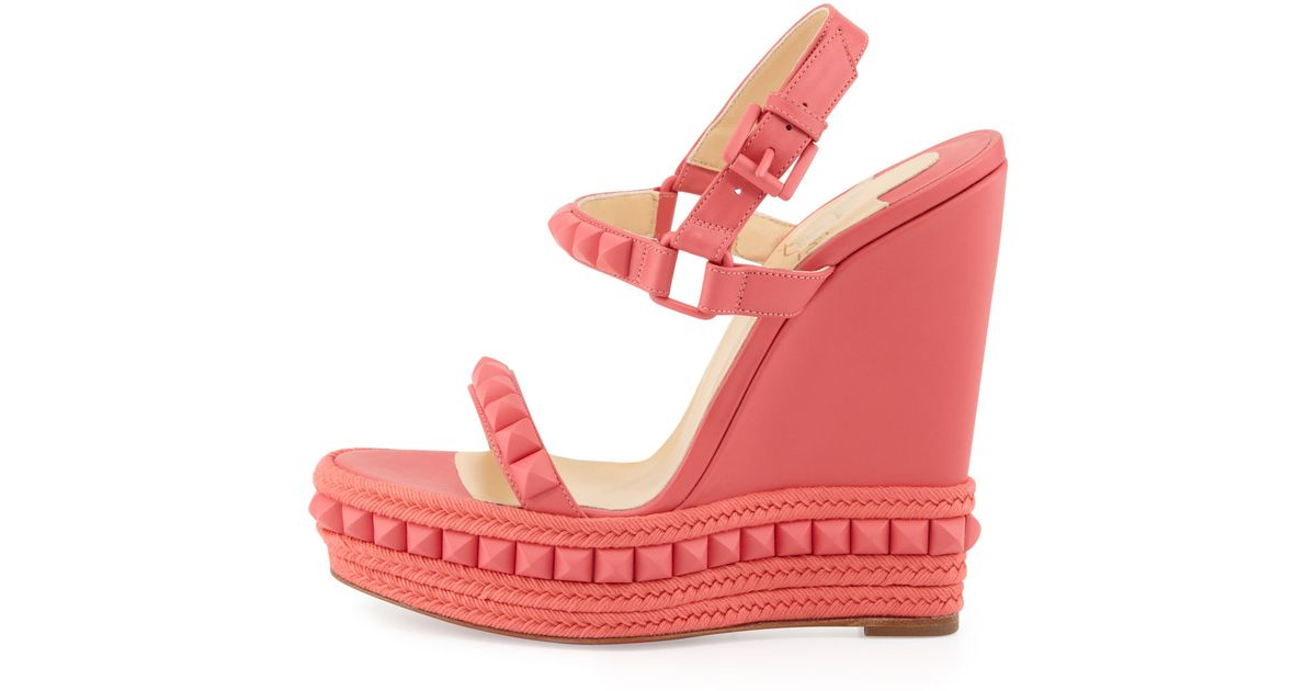 7d628271fe83 Lyst - Christian Louboutin Cataclou Studded Wedge Sandal Pink in Pink