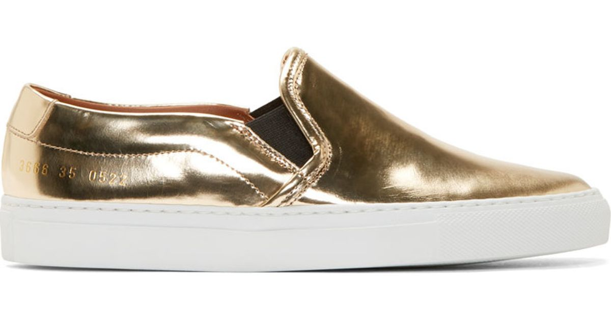 daf1b88153ca Common Projects Copper Metallic Slip-on Sneakers in Metallic - Lyst