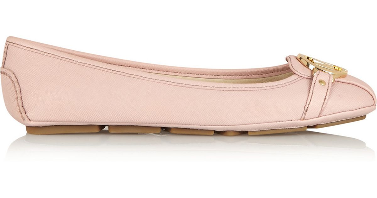 bb05c2c32548 Lyst - MICHAEL Michael Kors Fulton Textured-Leather Ballet Flats in Pink