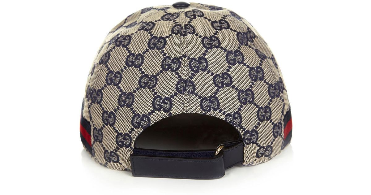 35d688f9920 Gucci Gg Navy Canvas Cap in Gray for Men - Lyst