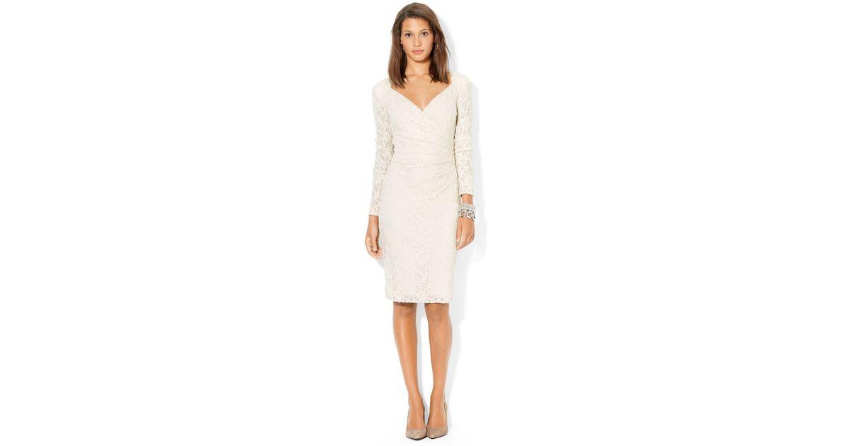 29c067ec7763 Lauren by Ralph Lauren Sequined-Lace Surplice Dress in Natural - Lyst