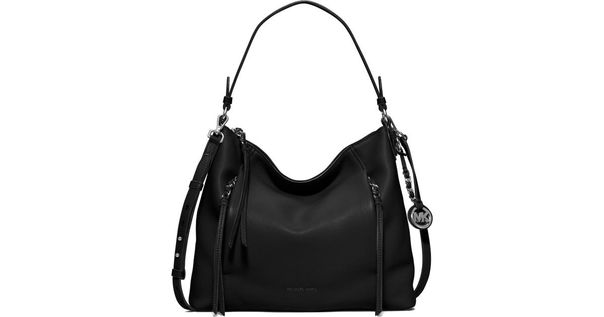 Michael michael kors Corinne Large Leather Shoulder Bag in Black ...