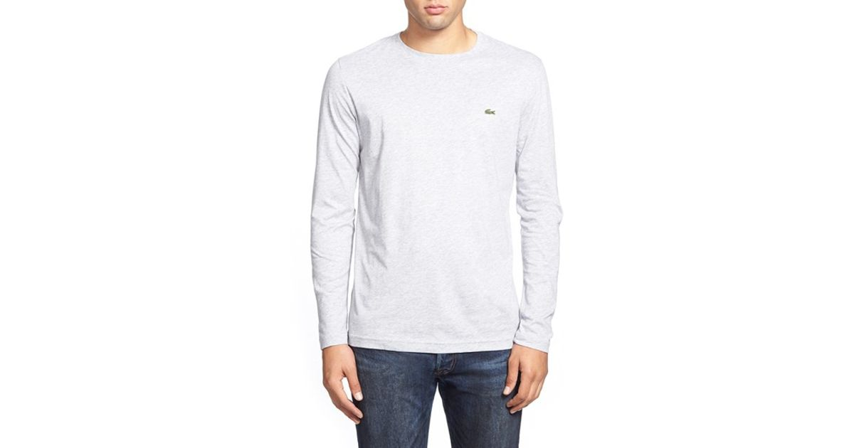 9fe511bed672d1 Lyst - Lacoste Long Sleeve Pima Cotton T-shirt in White for Men