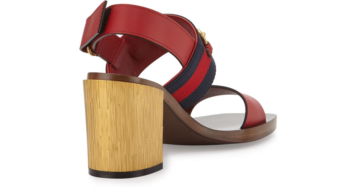 0a673309697 Lyst - Gucci Two-band Horsebit Block-heel Sandal in Red