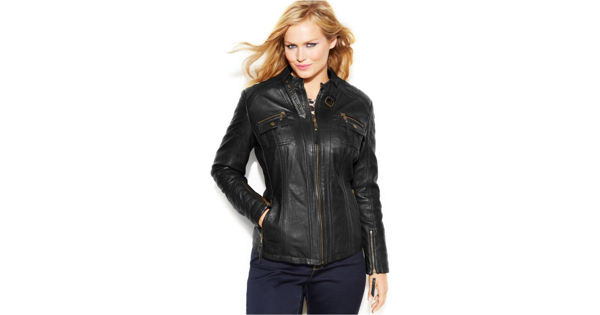 3be8bd9cdff Michael Kors Michael Plus Size Leather Buckle-Collar Motorcycle Jacket in  Black - Lyst