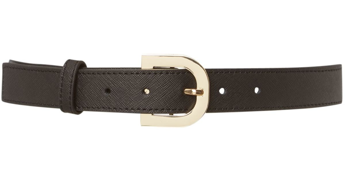 dkny saffiano leather black belt with d ring buckle in