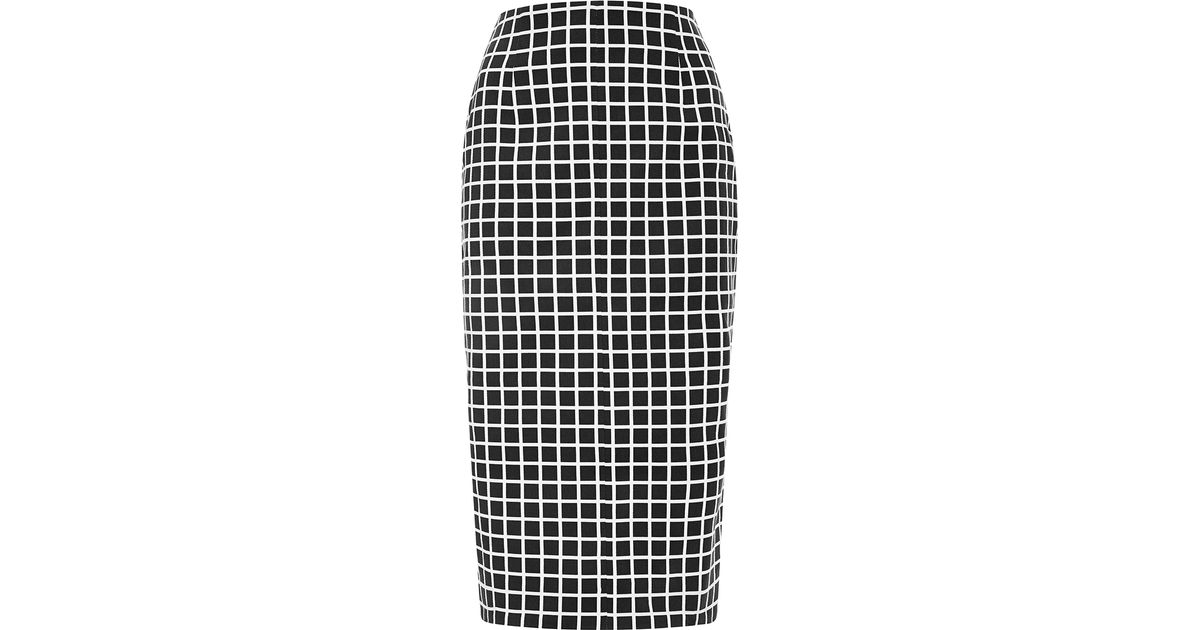 Nicholas Window Check Pencil Skirt in Black | Lyst