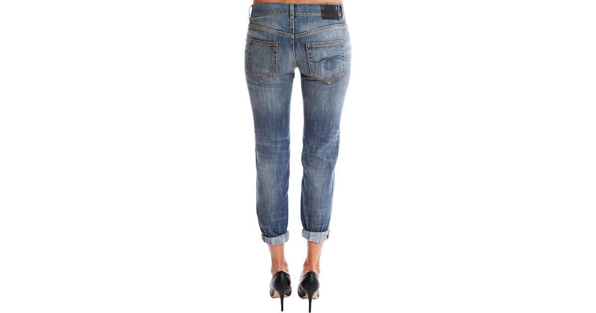 b0571cd5817246 Lyst - R13 Relaxed Skinny Dirty Vintage in Blue