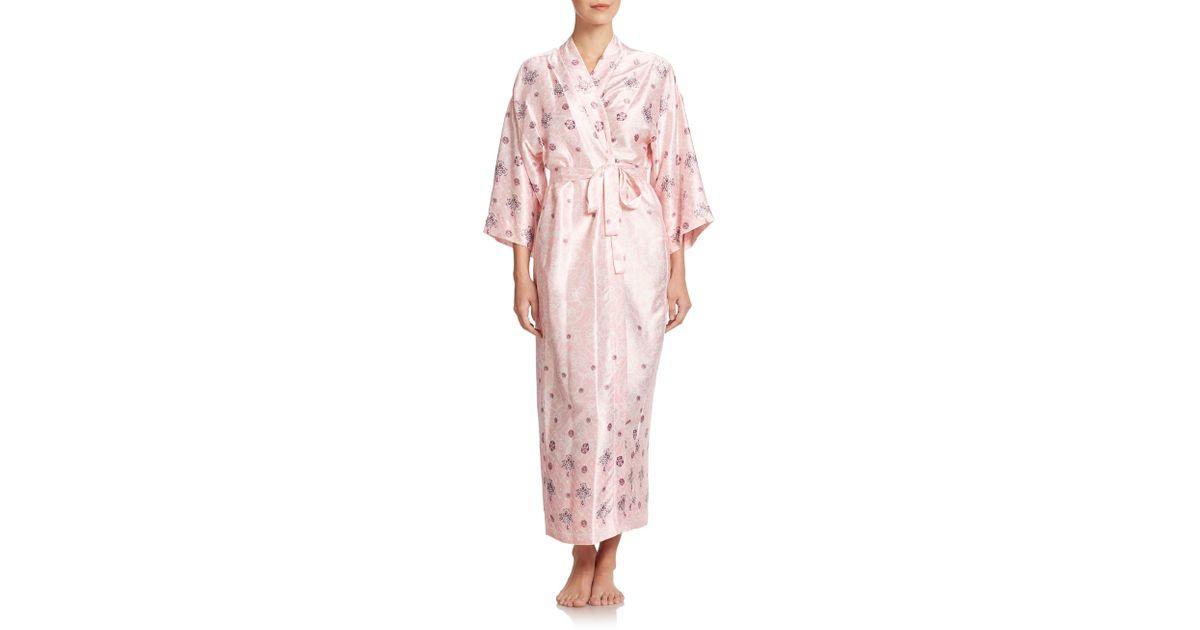Lyst - Oscar De La Renta Jewel-and-lace Print Satin Jersey Robe in Pink 823ea577c