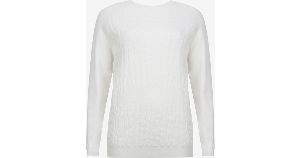 e59e68a10ba76 Lyst - Ted Baker Croc Effect Sweater in White