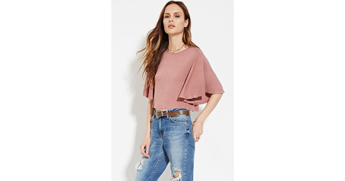 2ca4088436277 Lyst - Forever 21 Contemporary Angel-sleeve Top in Purple