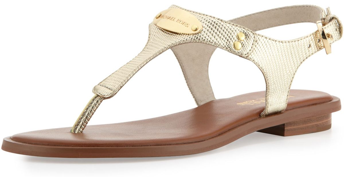e7dfe5b0b6ec Lyst - MICHAEL Michael Kors Plate Thong Sandal in Metallic
