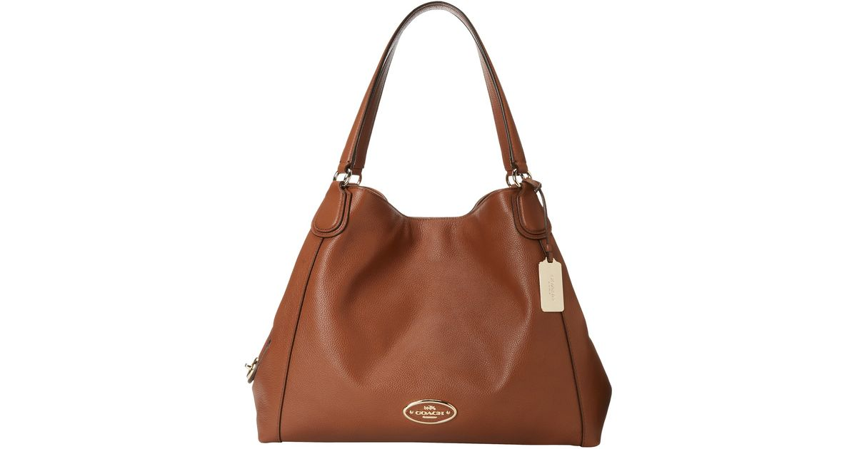 Lyst - COACH Refined Pebbled Leather Edie Shoulder Bag in Brown 5f3178172ca9c