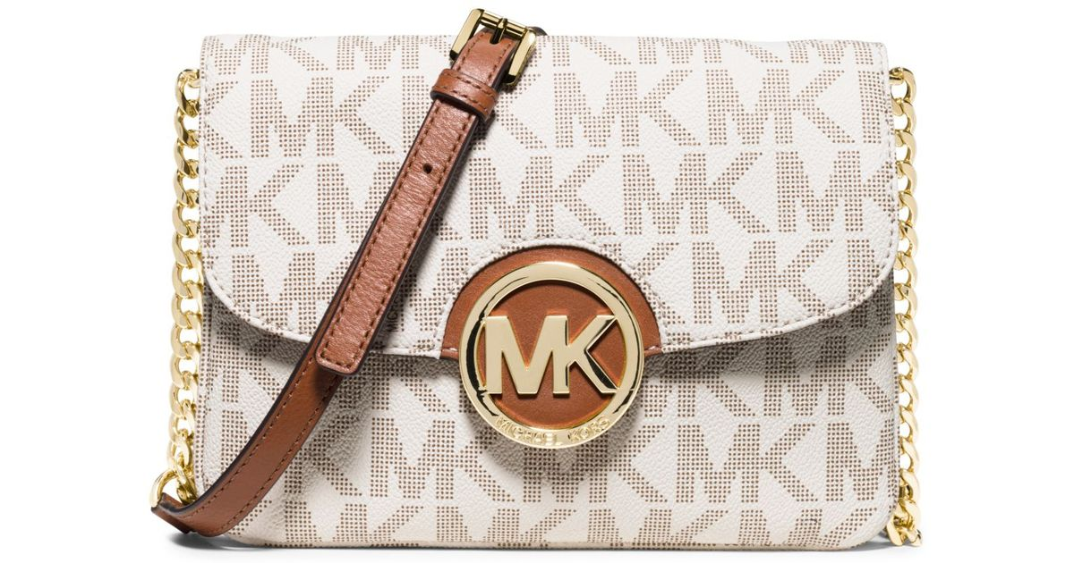 fba4af61c7a5 ... coupon code for lyst michael kors fulton crossbody in white 7d635 24277