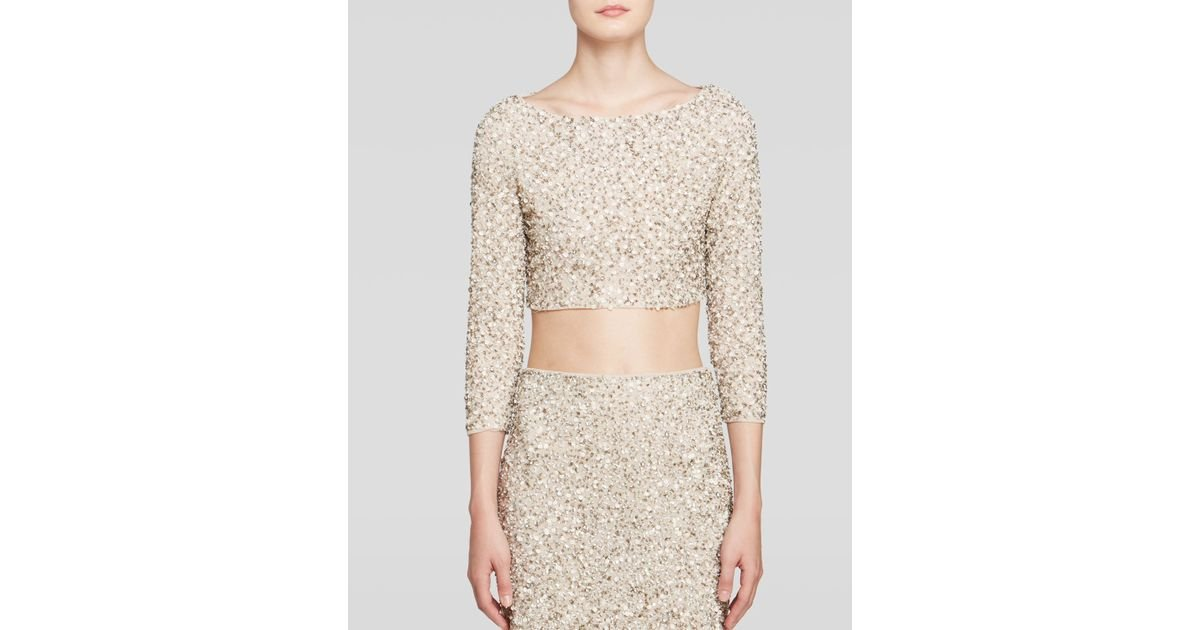 e6448597e08dc Lyst - Alice + Olivia Lacey Embellished Crop Top in Natural