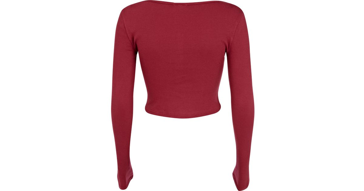 46d0a36394b06f River Island Dark Red Rib Long Sleeve Crop Top in Red - Lyst