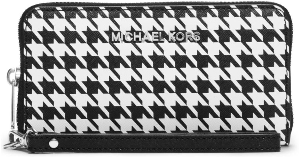 lyst michael kors jet set travel houndstooth saffiano leather rh lyst com
