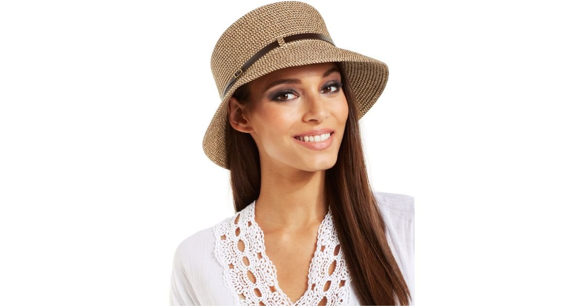 83e2aee55f81e9 Nine West Packable Microbrim Hat in Natural - Lyst