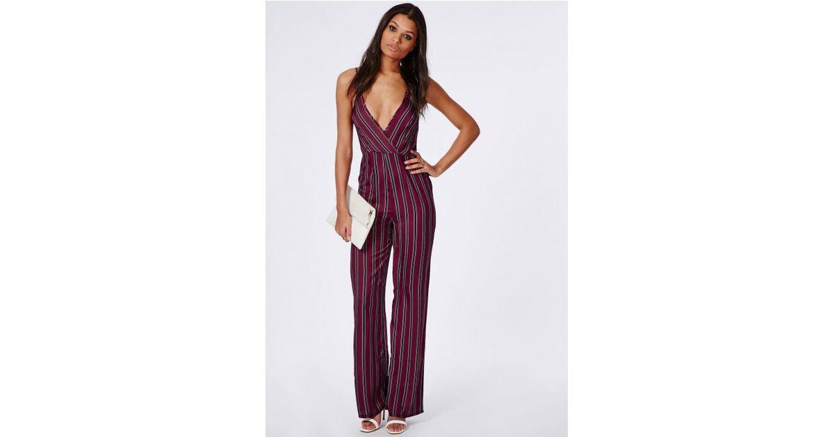 d8913e4effef Lyst - Missguided Silky Feel Stripe Plunge Jumpsuit Burgundy in Purple