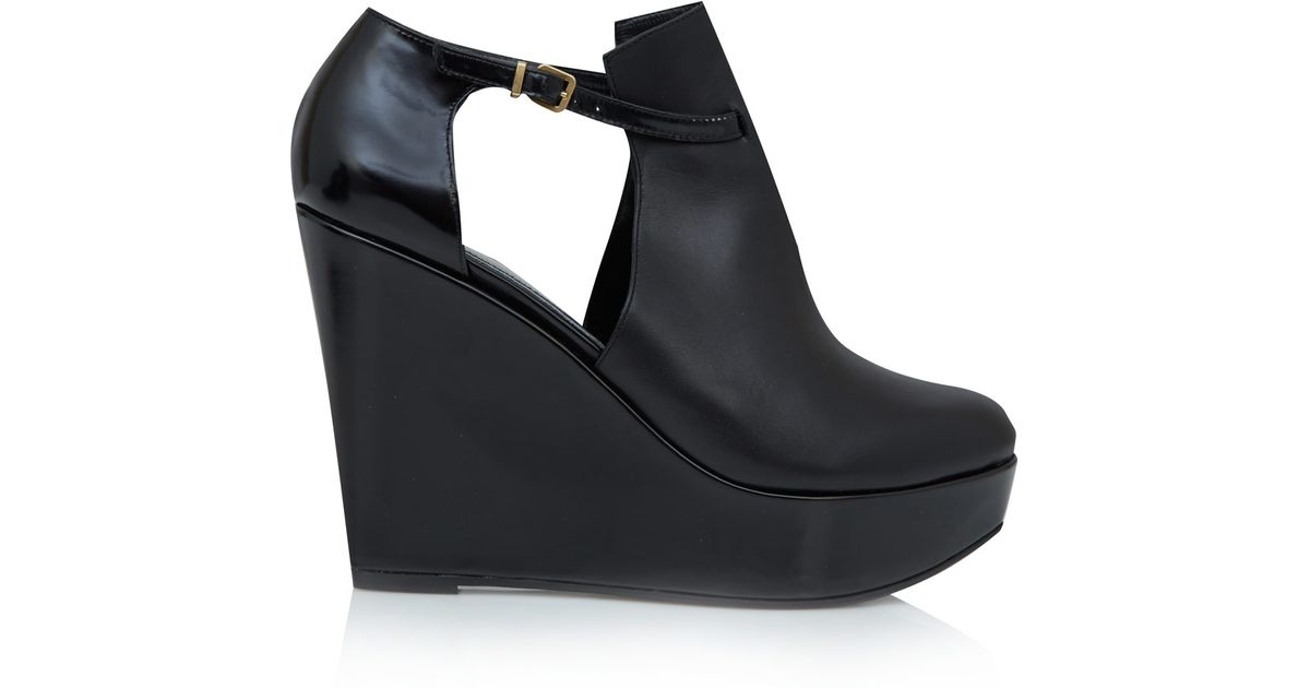 393312577cc Lyst - Robert Clergerie Black Filona Cut-Out Wedge Shoe Boots in Black