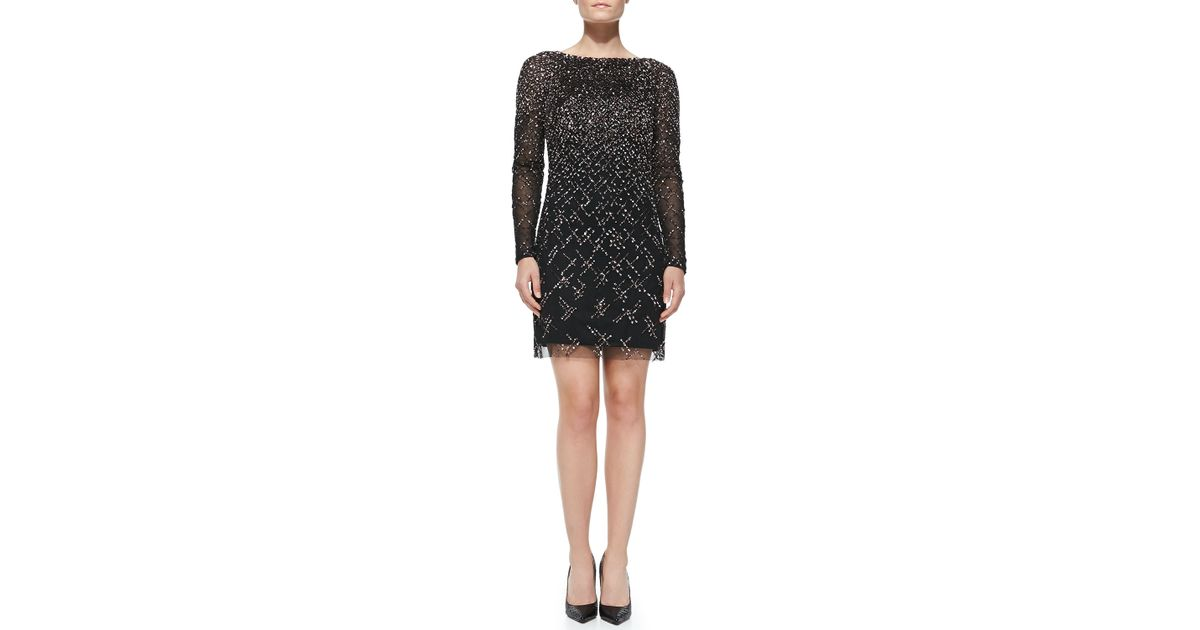 e939d878a84 Lyst - Aidan Mattox Long-Sleeve Beaded   Sequined Cocktail Dress in Black